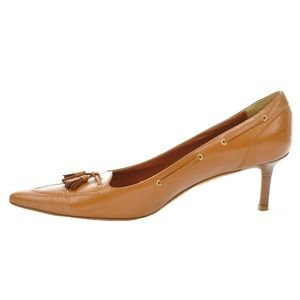 BROOKS BROTHERS TAN LEATHER POINTED TOE PUMPS 9